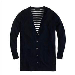 J Crew  V Neck Striped Back Blue Sweater Cardigan